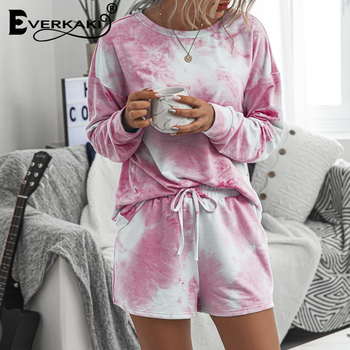 Everkaki 2 Pieces Sets Suits Women Sports Summer Gym Tie-dyed Streetwear Ladies Home Suits Sets Female Casual 2020 New Fashion