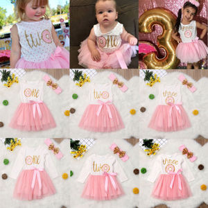 Pudcoco Toddler Baby Girl 1st 2nd 3rd Birthday Tulle Tutu Dress Headband Outfits Set Birthday Outfits vestido de bebes(China)