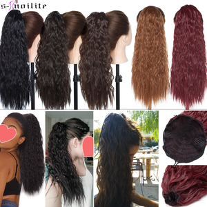 SNOILITE 18inch long corn water wave clip in ponytail hair extension Synthetic Drawstring hair ponytail hairpiece for women(China)