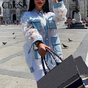 Image 3 - Missychilli Ren Trắng Miếng Dán Cường Lực Áo Sơ Mi Denim Nữ Dạo Phố Phối Lưới Trong Suốt Hoa Jean Áo Mùa Hè Gợi Cảm Câu Lạc Bộ Embroiderytop