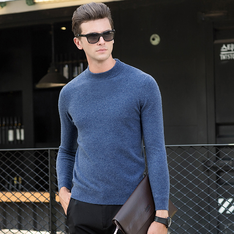 100% Wool Thick Warm New Fashion Brand Sweater Mens Pullovers Slim Fit Jumpers Knitred Autumn Korean Style Casual Men Clothes
