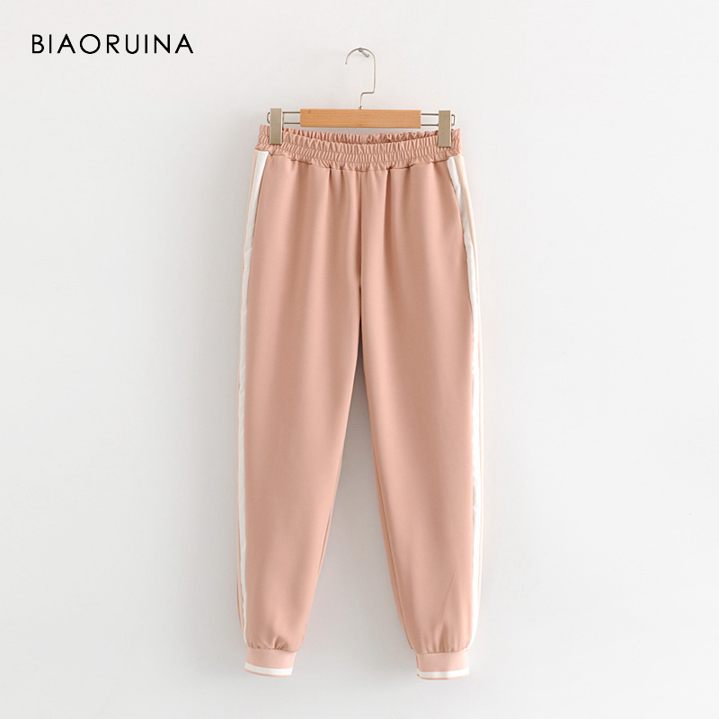BIAORUINA Women's Fashion Side Striped Elastic Pencil Pant Female Casual All-match Pant Active Wear Women Comfortable Trousers