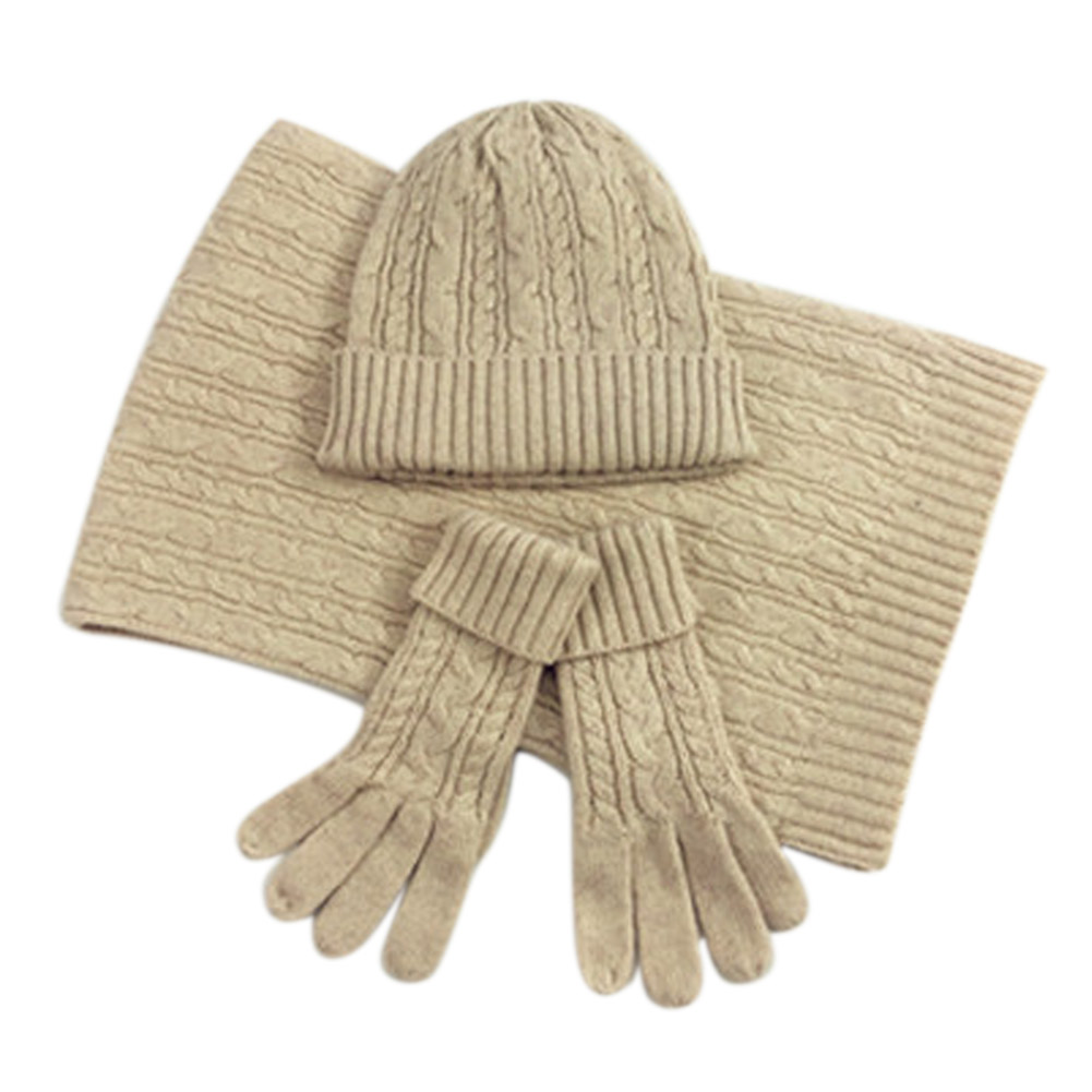 Fashion Ladies New Autumn Winter Warm Solid Color Scarf Hat Glove Sets Women Thick Knit Soft Knitted Woollen Set