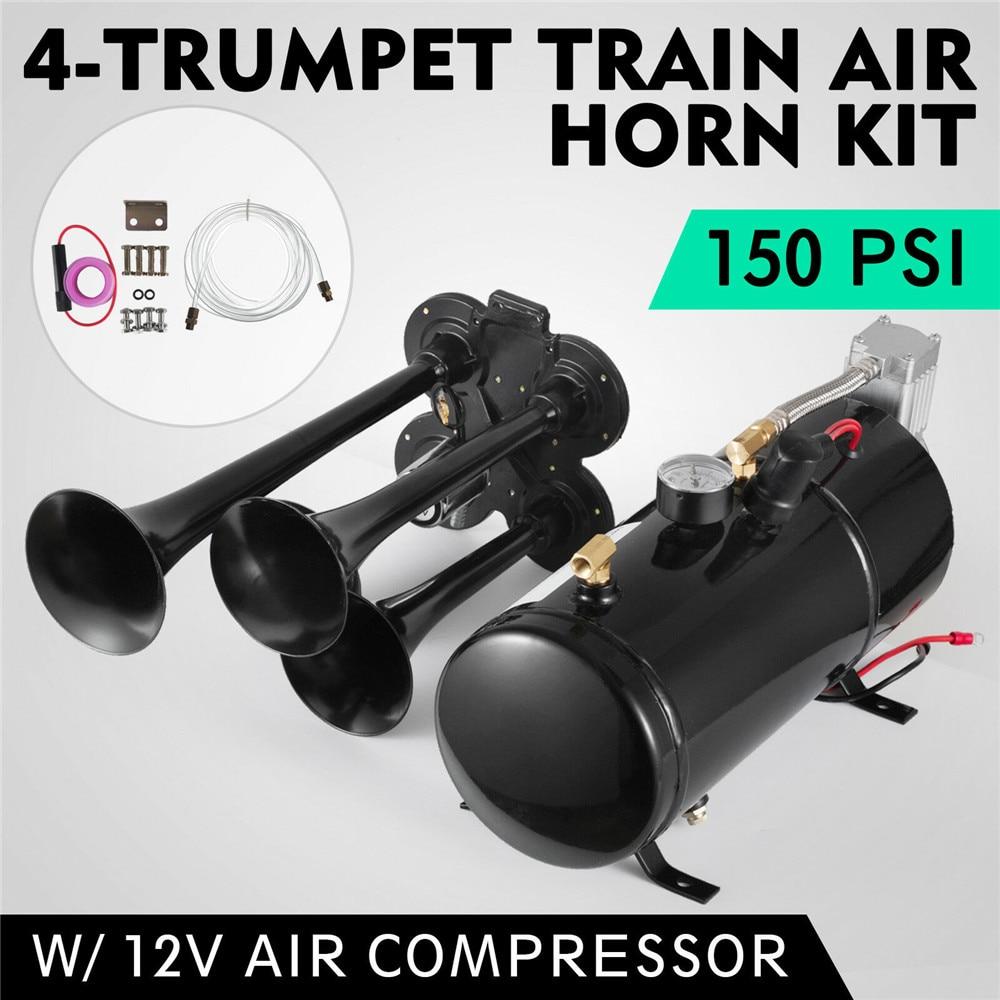 New Quad 4 Train Air Horn Kit Semi Truck Boat W/ 150 PSI Compressor 12V 3 Liters Refitting Air Pump with Four Pipe Horn|Multi-tone & Claxon Horns| |  -