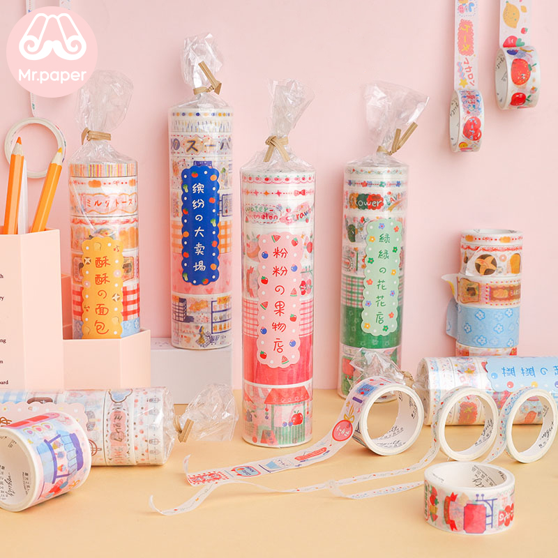 Mr Paper Candy Bag Package Supermarket Open Washi Tapes Set Kawaii Delicious Snack Dessert Fruit Milk Scrapbooking Masking Tapes