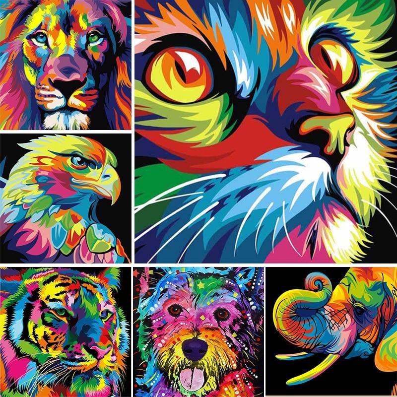 5D Diy Diamond Painting Animals Dog&cat Cross Stitch Kit Diamond Embroidery Lion&Tiger Mosaic Picture Of Rhinestones Home Decor