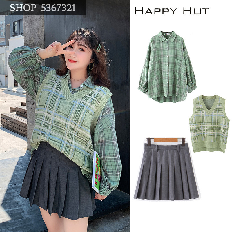 Woman Vest 2019 Autumn Fat Mm Will Code Suit-dress Thin V Lead Green Check Vest N7154 thumbnail