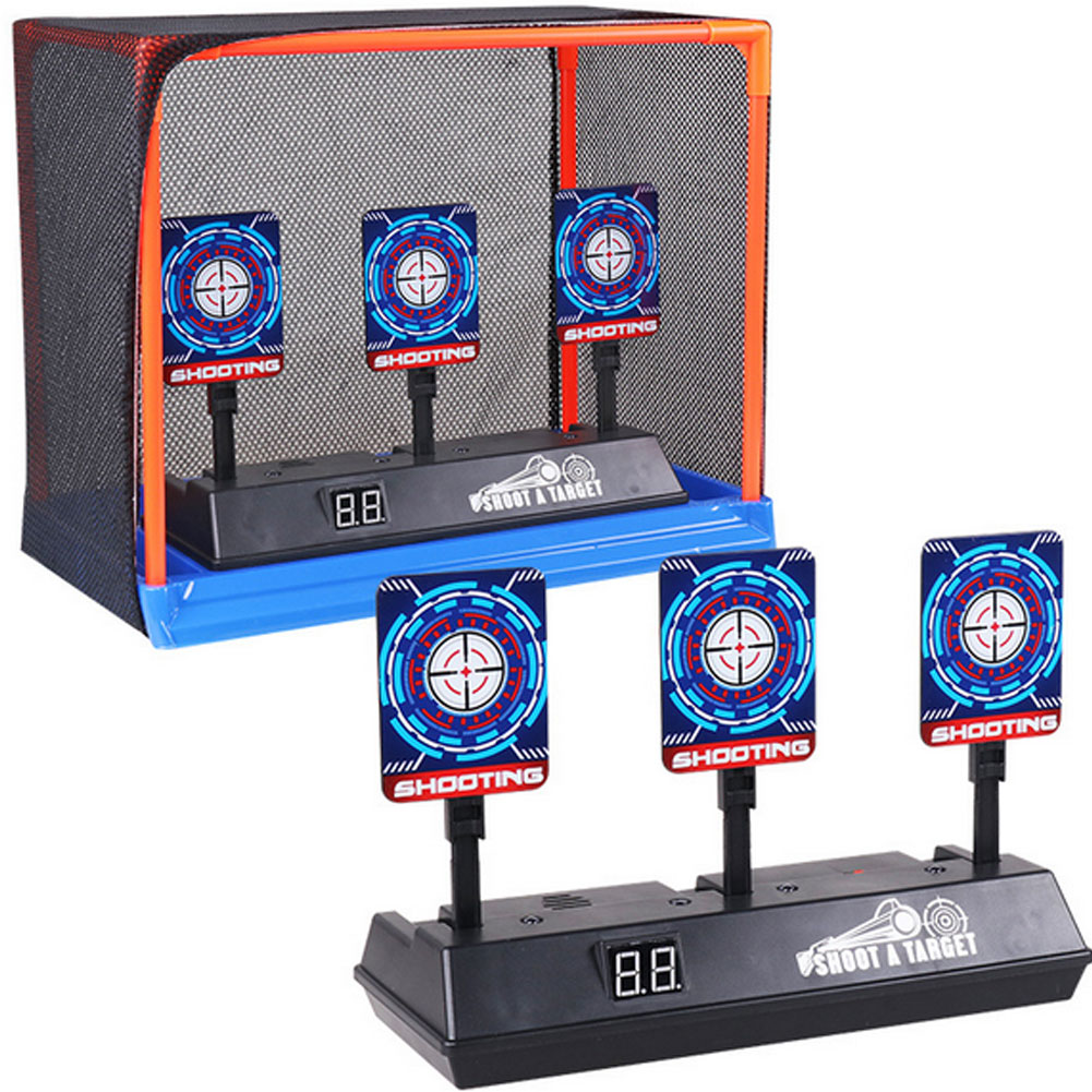 Children Running Shooting Targets With Net Frame Electronic Scoring Auto Reset Digital Targets For Nerf Guns Game Toy