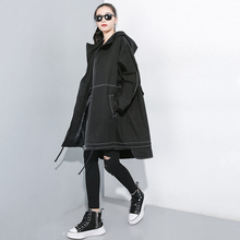 [EAM] Women Drawstring Oversize Trench New Hooded Long Sleeve Loose Fit Windbreaker Fashion Tide Autumn Winter 2019 1A826