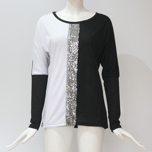 Image 5 - Fashion Sequined Blouses 2019 Women Casual Shirts O neck Long Sleeve Patchwork Loose Tee Tops and Blouses Spring Autumn Clothing