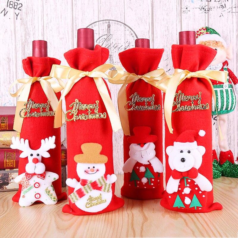 New Year 2020 2019 Christmas Santa/Snowman Wine Bottle Dust Cover Noel Natal Merry Christmas Decorations for Home Dinner Decor