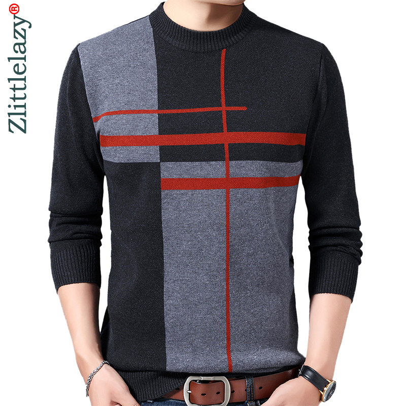 2019 Casual Thick Warm Winter Striped Knitted Pull Sweater Men Wear Jersey Dress Pullover Knit Mens Sweaters Male Fashions 02196