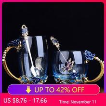 الأزرق الوردي المينا كوب كريستال شاي بالأعشاب المزهرة الزجاج عالية الجودة كأس الزجاج زهرة القدح مع Handgrip هدية مثالية لمحبي الزفاف