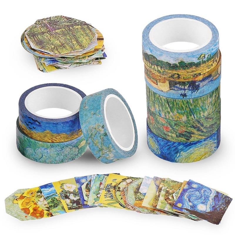Van Gogh Inspired Washi Masking Tape Set Of 8 Rolls + 90 Pcs Planner Stickers For DIY Crafts Scrapbook