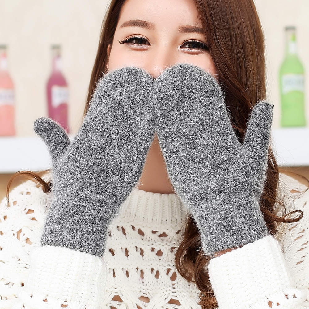 Sparsil Women Full Fingers Wool Warm Mittens Winter Thicken Cold-proof Plush Gloves 2 Layer Knitted Glove Female Autumn Guantes