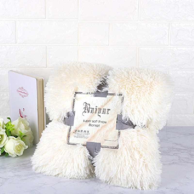 Couvertures doux fourrure Faux avec moelleux jeter couverture lit canapé couvre-lit longue Shaggy doux chaud literie feuille couvertures confortables