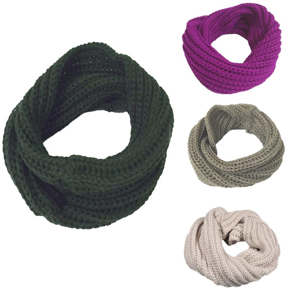 Winter Women Men Woolen Yarn Knitted Warm Neck Collar Warmer Scarf Wrap Gift