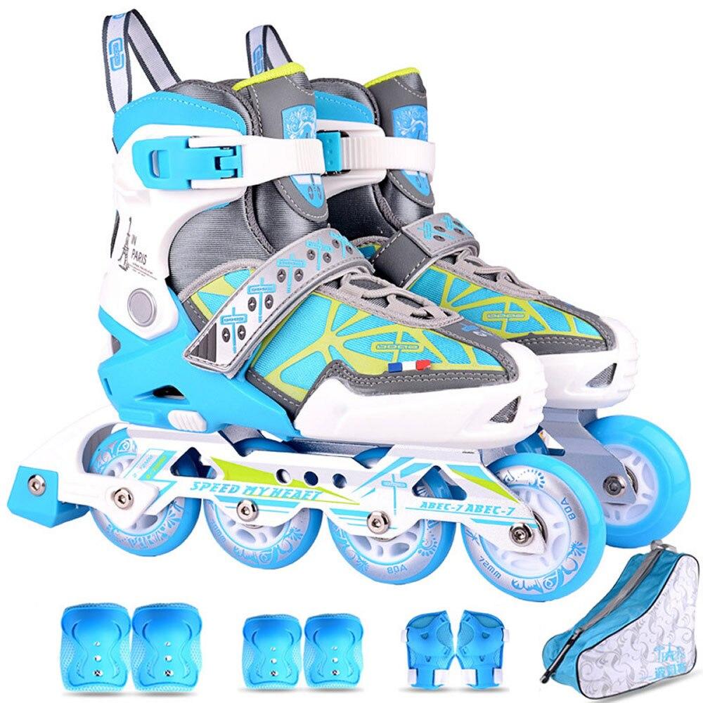 Flash Pu-Roller Inline Skates Set Kids Roller Skates Outdoor Children Silding Free Safe Patins Sport Shoes Child Size 31-42