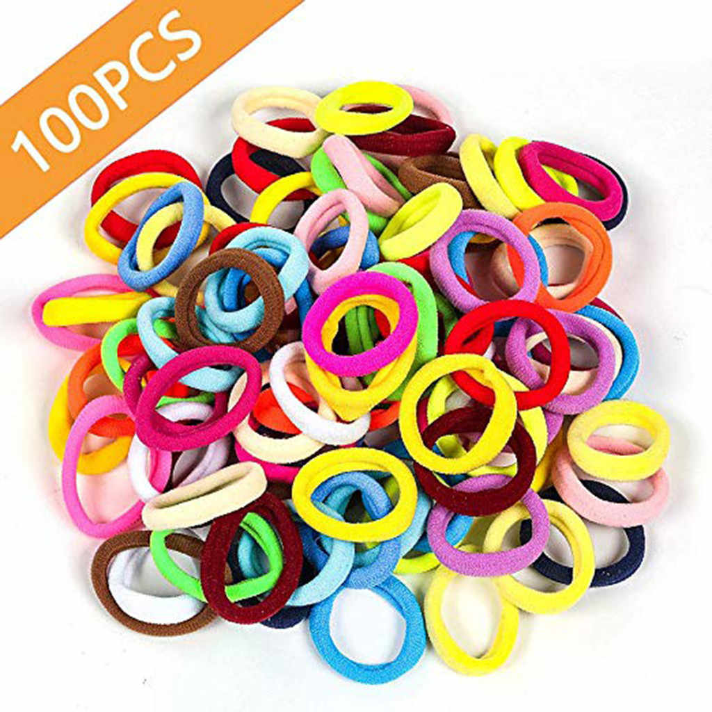 100 pcs Girl Braider Candy Color Elastic Hair Ties Band Rope Ponytail Bracelet hair holder Brace Hair Tools Ligas Para Cabello b