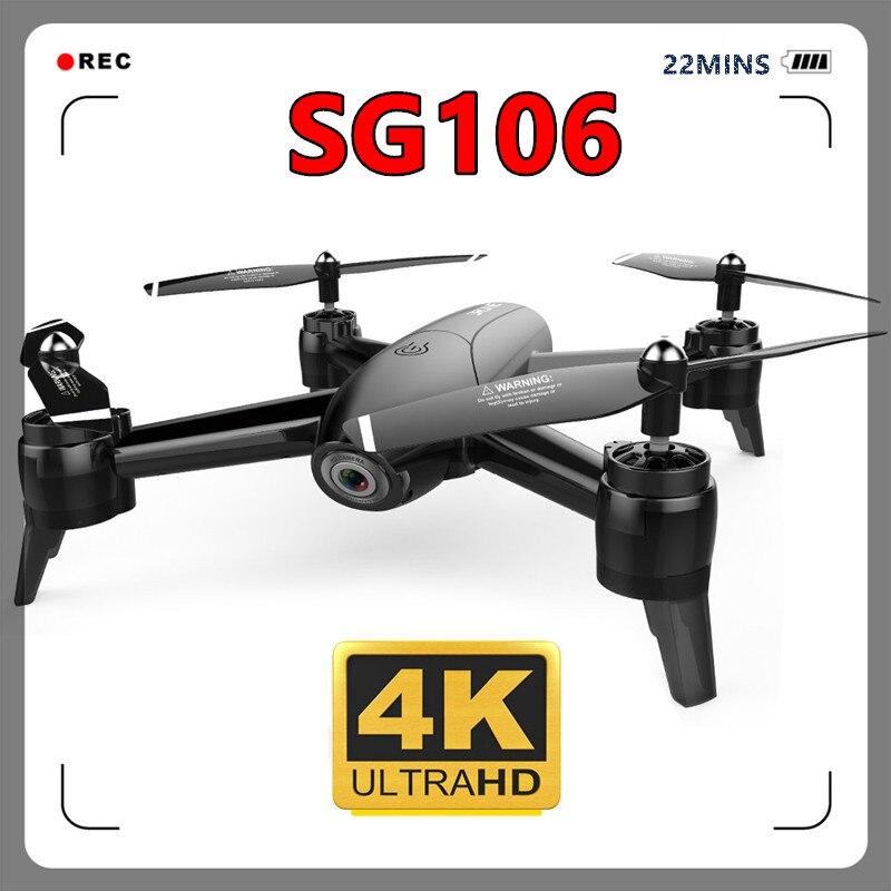Oyuncaklar ve Hobi Ürünleri'ten RC Helikopterler'de SG106 WIFI FPV Drone 4K Çift Kamera HD Gerçek Zamanlı Hava Video Optik Akış rc dört pervaneli helikopter Helikopter VS XS809W H47 XS816 M70 Drone'da  Grup 1