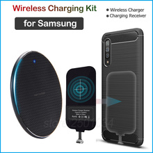 Qi kablosuz şarj Samsung Galaxy S8 S9 S10 S20 not 8 9 10 artı A6 A8 A40 A50 A60 a70s şarj mikro USB tipi C alıcı