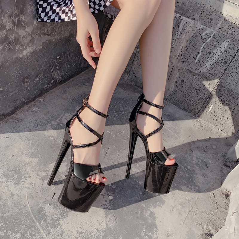 20cm Heel Gladiator Sandals Women Stripper Shoes Summer Sexy Thin Heel Cross Strap High Heels Sandals Women Platform Sandals
