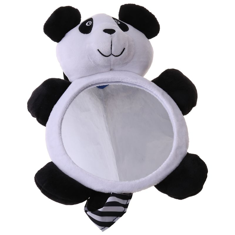 Rearview Mirror Children Toy Car Baby Plush Cartoon Bear Model