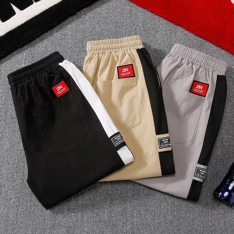 Summer Cotton Mens Shorts New Casual Linen Shorts Breathable Big Size 4XL Beach Soild Sweatshorts Joggers Patchwork Short Pants