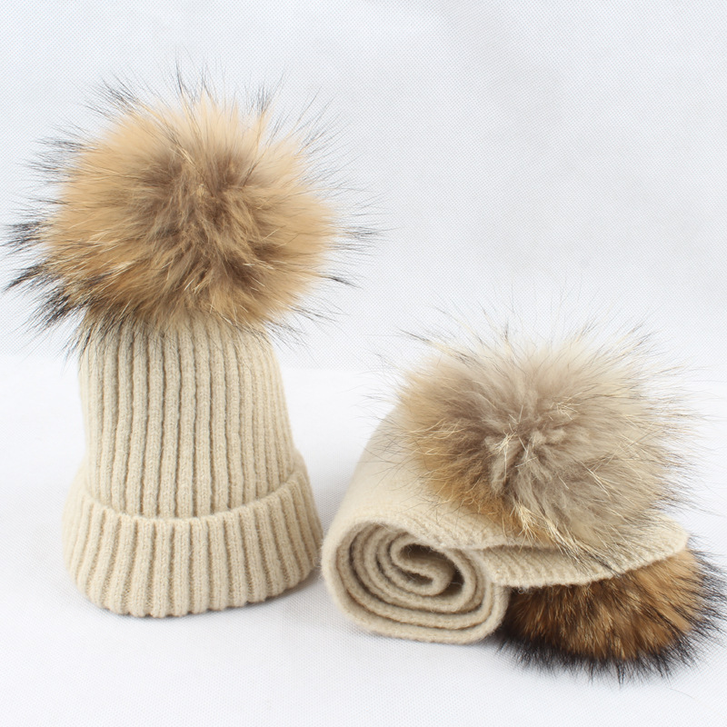 Kid Hat Scarf Set Winter Beanie Real Raccoon Fur Pompon Wool Knit Autumn Warm Skiing Outdoor Accessory For Baby Boy Girl