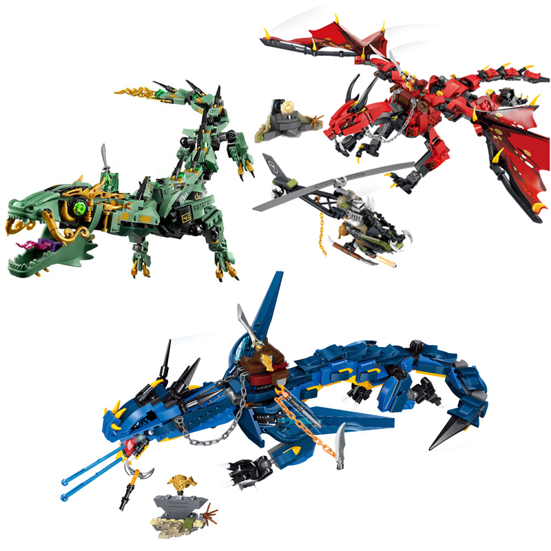 Ninjagoed Flying Mecha Dragon Building Blocks Bricks Toys Model Ninja Action Figures Model Toys Gifts With Figures image