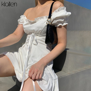 KLALIEN fashion elegant bow white female mini dress summer party birthday festival cute sexy french romantic silk dress women 2