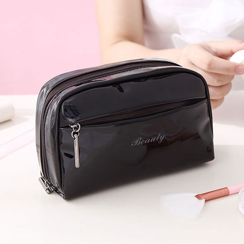 Fashion Laser PU Leather Makeup Bag Organizer Women Girl Cosmetic Portable Beauty Wash Zipper Travel Storage Waterproof Make Up