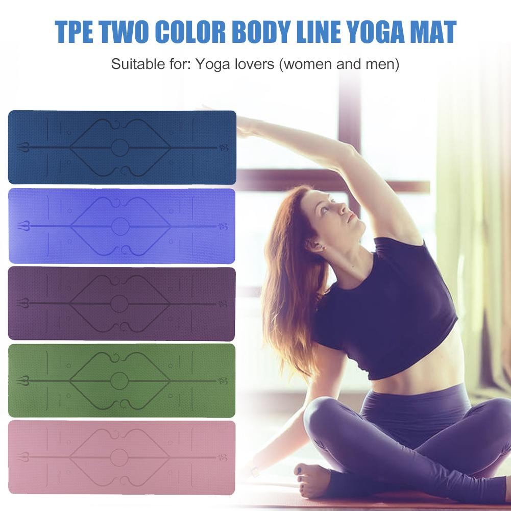 Non-Slip TPE Yoga Mat With Position Line 1