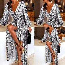 Summer Autumn Long Dresse Women Leopard Lightweight Beach Chiffon Dress Casual Sleeve V Neck Ruffles Elegant Party