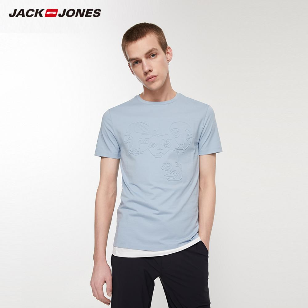 JackJones Men's 100% Cotton Slim Fit 3D Pattern Short-sleeved T-shirt|streetwear  219201560