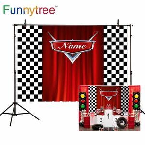 Image 2 - Funnytree race theme photo curtain birthday background car backdrop grid banner child Baby photography photozone photophone