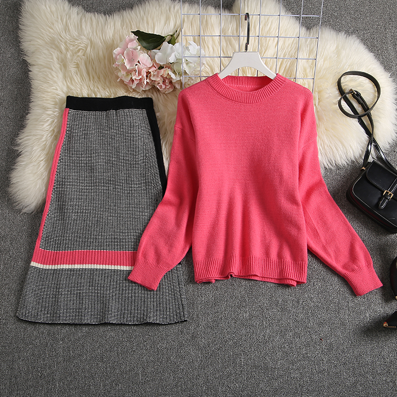 ALPHALMODA 2019 Autumn New Arrived Women Knitting Sweater Skirt Suits Bright Color Youthful Winter Knitting Outfit 2pcs Set 90