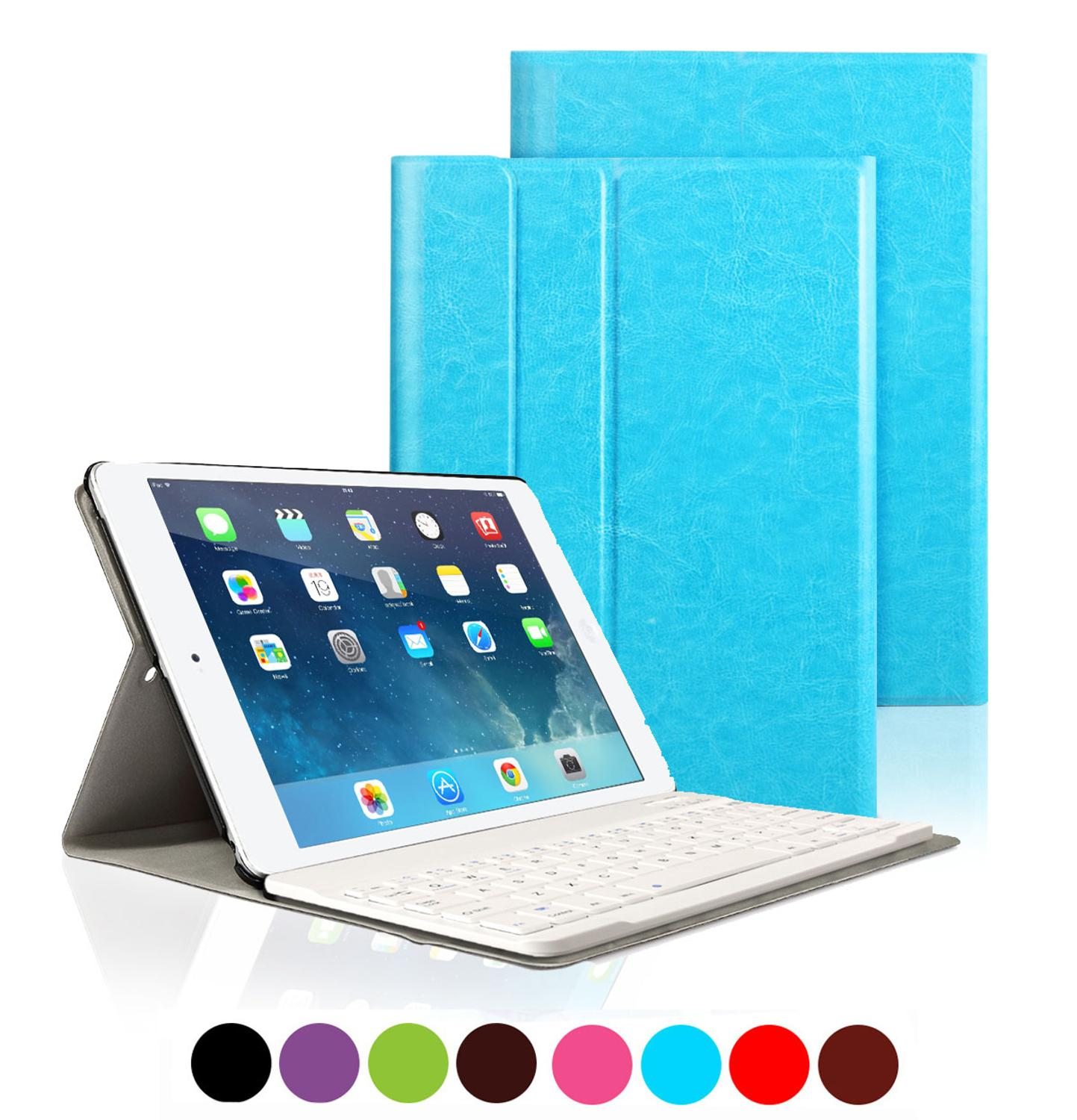 PU Leather Bluetooth Keyboard Case For iPad 2017 2018 / iPad Air 1 2/Pro 9.7 Magnetic Detachable Anti-slip Cover For iPad 5 6