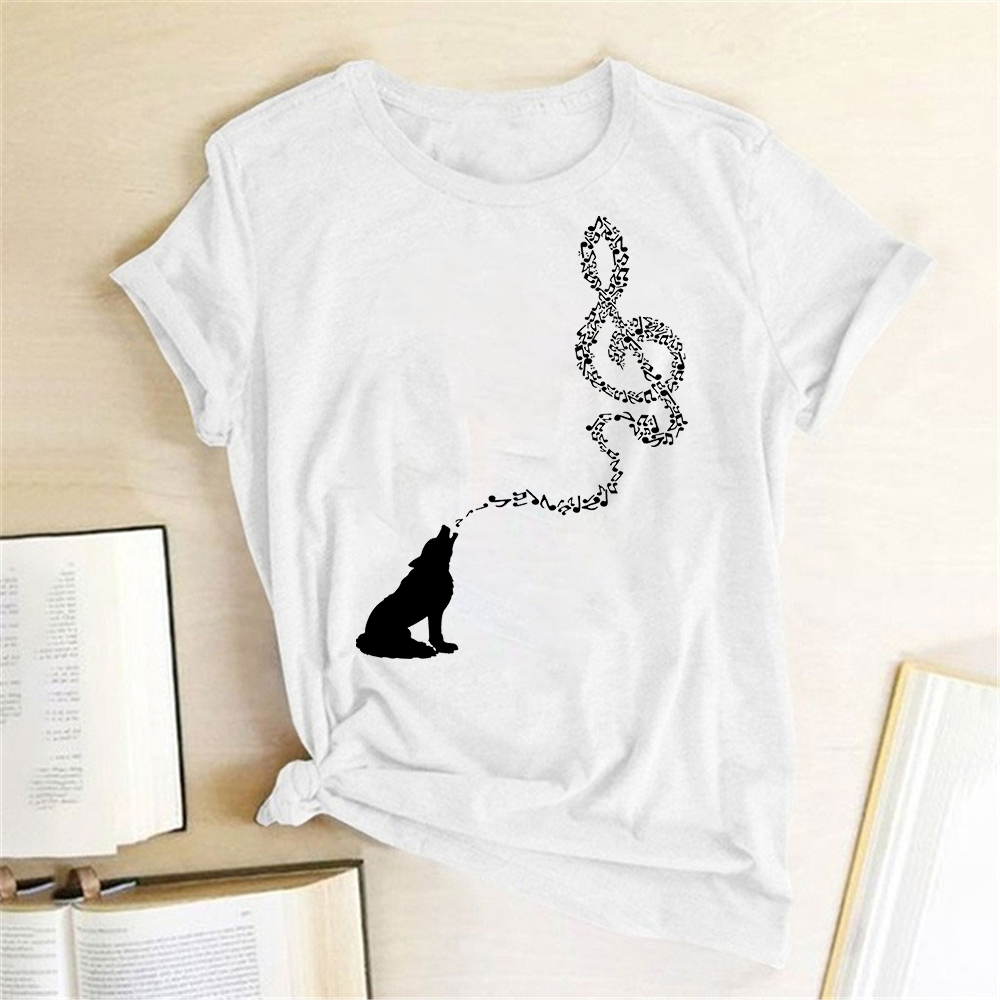 Funny Music T Shirt Women Wolf Note Printed Graphic Tee Short Sleeve Crewneck Loose T Shirt Fashion Music Festival T-shirts