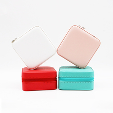 Multifunction Leather Jewellery Organizer With Mirror Zipper Jewelry Packaging Boxes Ring Necklase Earring holder Case