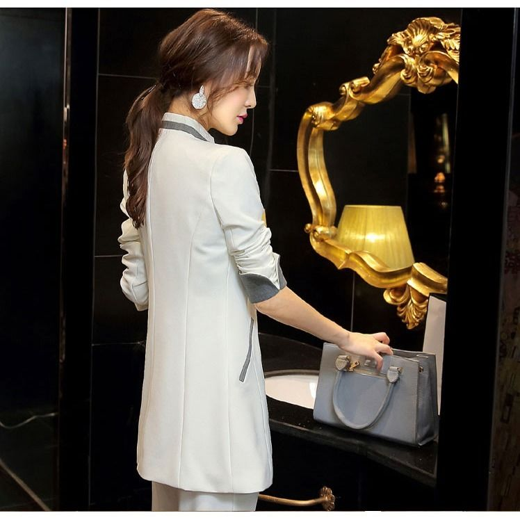 2020 small suit jacket casual suit spring and autumn new mid-long slim casual business wear Korean version of women