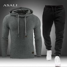 2021 ginásios primavera algodão conjuntos dos homens moletom com capuz moletom casual masculino sólido moletom + calças conjunto 5xl roupa