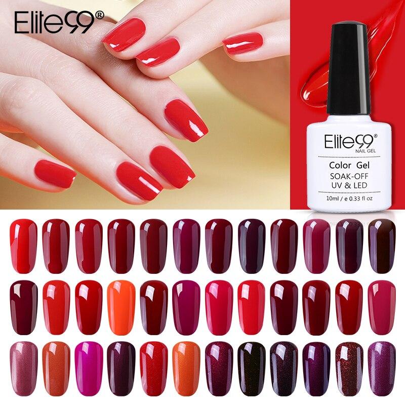 Elite99 10 мл гель лак для ногтей цвет красного вина Цвет! Полупостоянная био-Гели Soak Off Светодиодный УФ Гель-лак для ногтей элегантный дизайн ног...