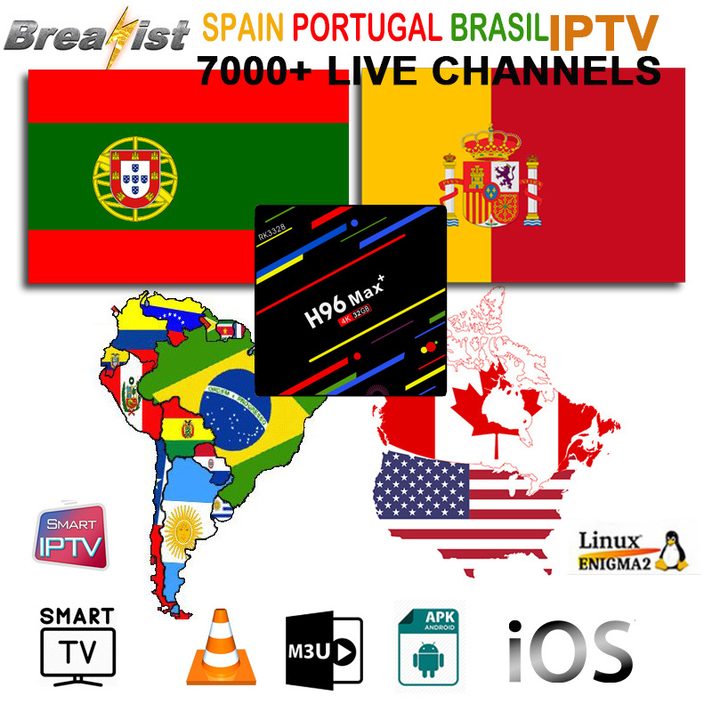 IPTV Spain USA Latino M3U South/North Latin Subscription For Smart Android TV America Canada Chile Argentina Brazil Spanish Vods
