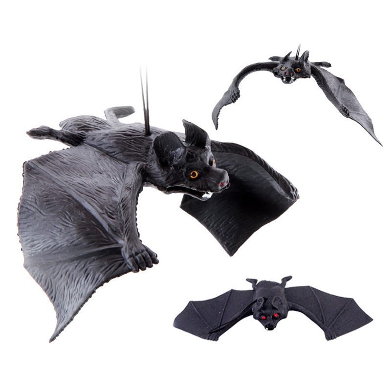 H88789e31ab7a420189c1bd043560ec97R - Halloween Simulation Animals Bats Trick Toy Halloween Decoration Horror House Bat Hanging Props Home Wall Window Decor