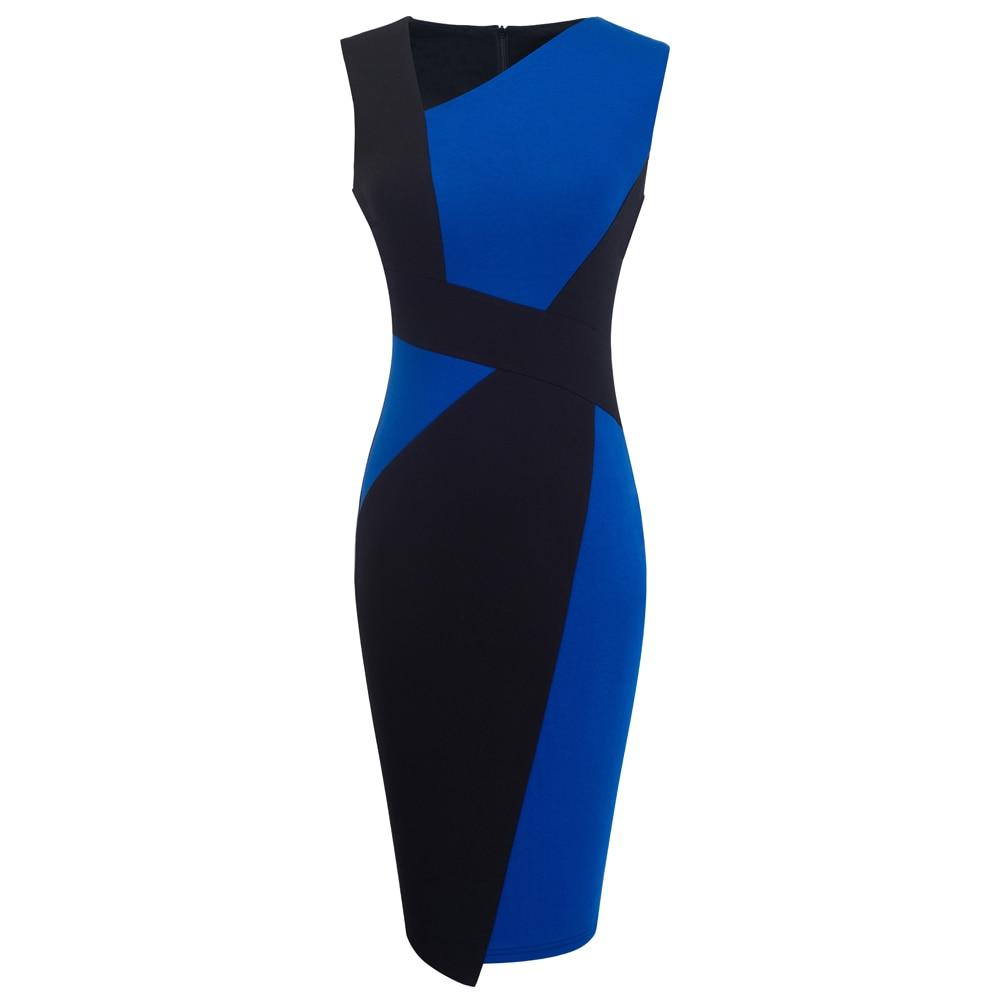 Vintage Women Patchwork Asymmetrical Collar Elegant Casual Work Office Sheath Slim Dress EB517 12