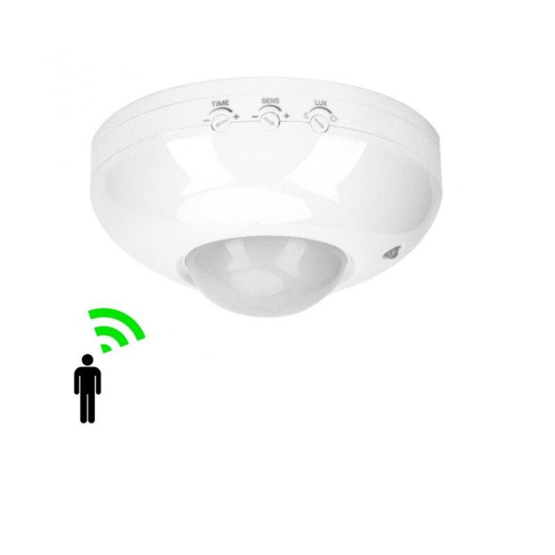 Sensor de movimiento PIR infrarrojo automático de techo, alta sensibilidad, 360 grados, interruptor de luz led, sensor de movimiento, 220v AC 6m max
