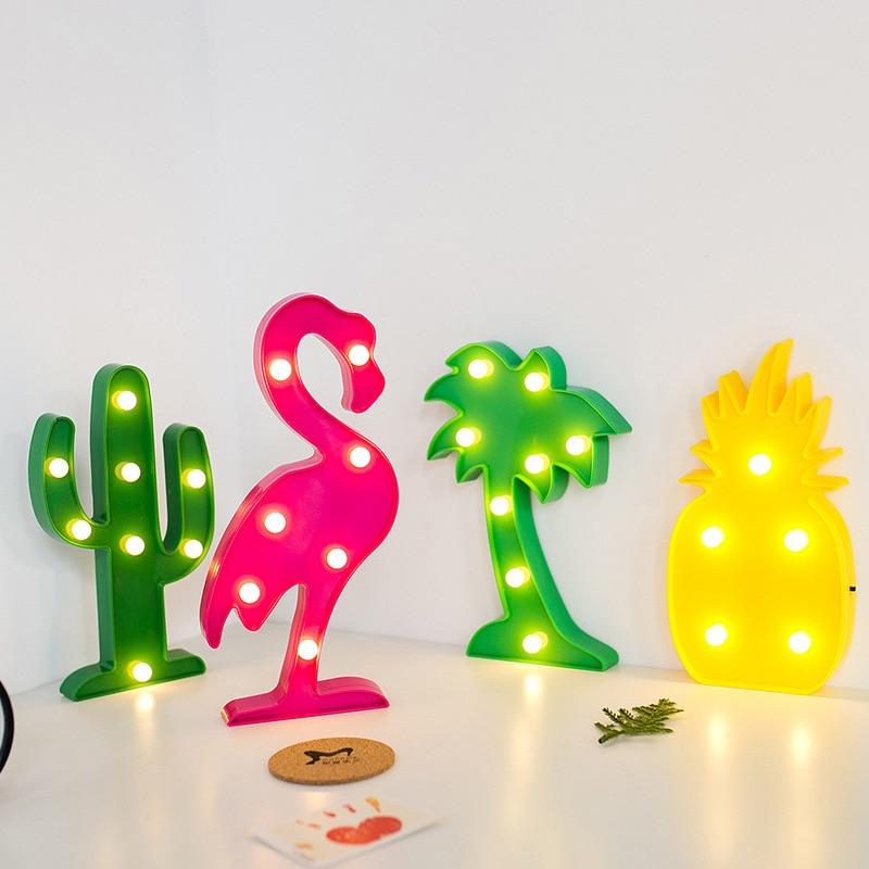 BRELONG LED Night Light Indoor Bar Decorative Modeling Light Flamingo / Cactus / Pineapple / Unicorn / Crown / Christmas Tree