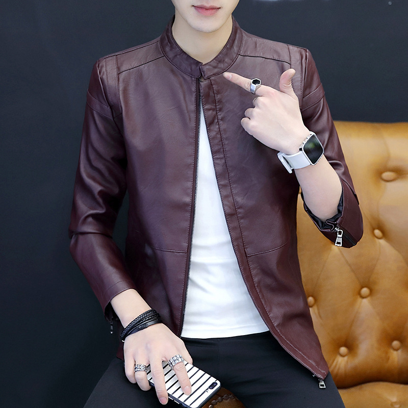 2018 New Style MEN'S Leather Coat Fashion Leather Jacket Slim Fit Korean-style Motorcycle Handsome Trend Youth Casual Men'S Wear