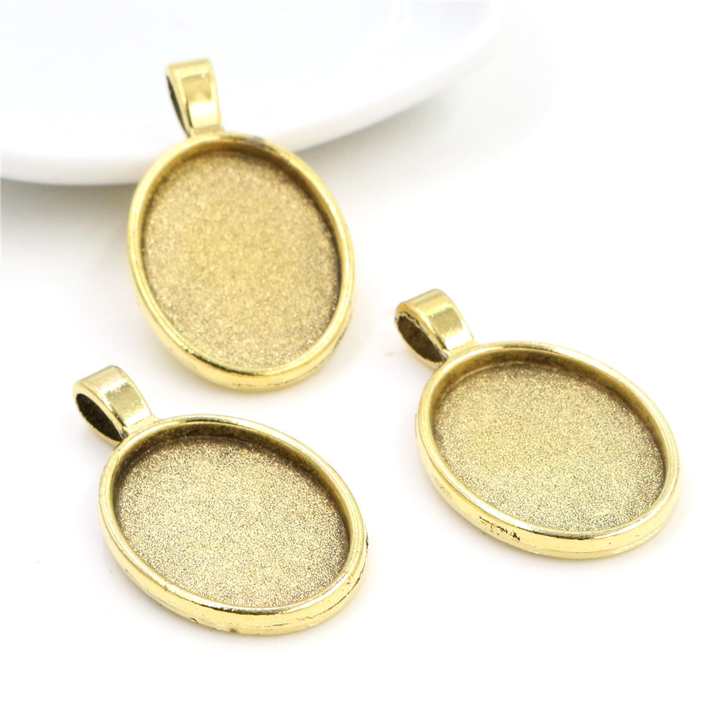 4pcs 18x25mm Inner Size Antique Gold Color Classic Style  Cameo Cabochon Base Setting Charms Pendant Necklace Findings  (C1-41)